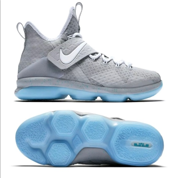 factory authentic f922c f03b5 Nike Lebron 14 XIV GS Mag Marty McFly Gray Blue